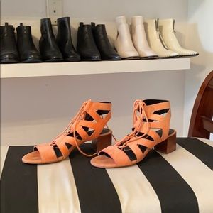 Coral Rebecca mink off heels